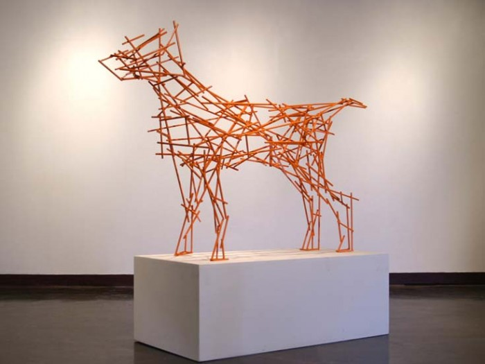 Orange Dog : Powder coated Steel, Life size