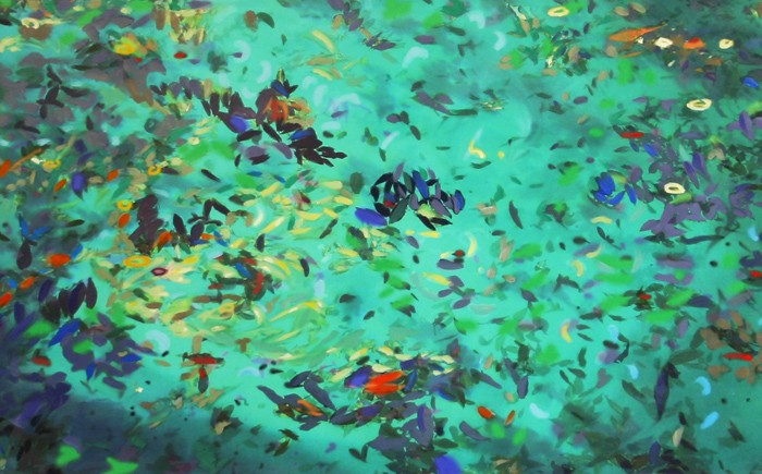 "Leaves Series 24"" x 59"" Acrylic on Canvas mounted on wood frame"